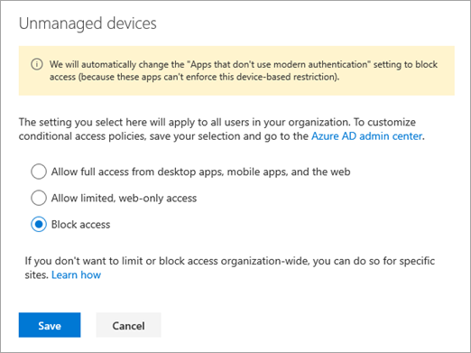 Conditional access for unmanaged devices