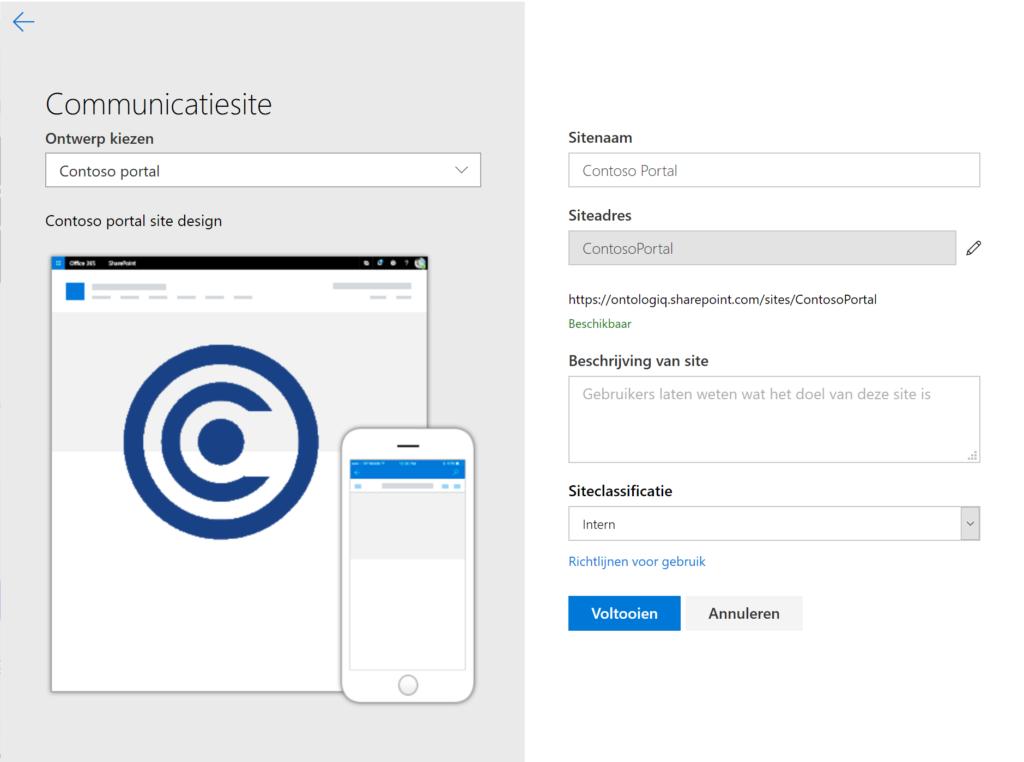 Select a custom site design
